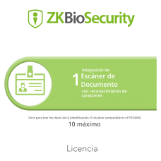 LIC ZKBIOSECURITY P/ 1 ESCANER DE DOCUMENTOS OCR MAXIMO 10