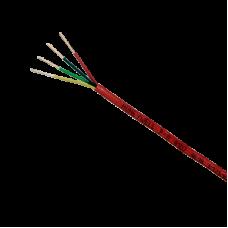 Bobina de 152 metros de alambre  calibre 18 AWG  en 4 hilos, caja REACT , resistente al fuego, color rojo, tipo FPLR- CL2R - C(UL) -FT4 para sistemas contra incendio o sistemas de evacuación.