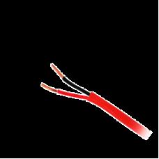 Bobina de alambre de 305 metros, calibre 16 de 1 par, color rojo, tipo FPLR, CL2R, C (UL) FT4 para aplicaciones  en sistemas de detección de incendio y sistemas de evacuación.