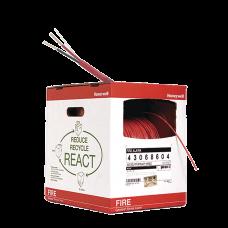 Bobina de 305 metros de alambre  calibre 14 AWG  en 2 hilos, caja REACT , resistente al fuego, color rojo, tipo FPLR- CL2R para sistemas contra incendio o sistemas de evacuación.