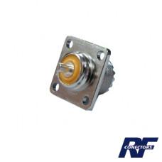 Conector PL-259 Hembra, montaje con 4 perforaciones a 18 mm.