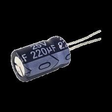 Capacitor Electrolítico de Aluminio de 220 µFd a 25 Vcd.
