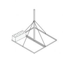 Base No Penetrante de 0.9 x 0.9 m con Mástil de 1.5 m Ced.30 para Instalación de Antenas SIN NECESIDAD DE PERFORAR EL TECHO (HOT-DIP).