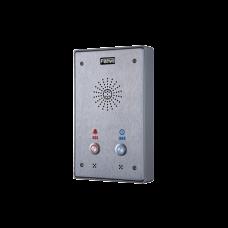 Intercomunicador IP, 2 líneas SIP, 2 relevadores con 2 botónes para llamada, anti-vandálico, IP65 e IK10, PoE
