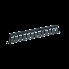 """Organizador de cables horizontal 19"""" con cubierta metálica, 1U."""
