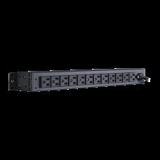 PDU Para Distribución de Energía Básico Con 12 Tomas NEMA 5-15R Traseras y Clavija NEMA 5-15P de 1U de Rack
